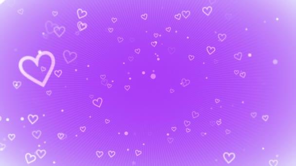 animáció, a romantikus kis fehér szív, lila háttér, elegáns dinamikus Stílussablon Valentin-nap