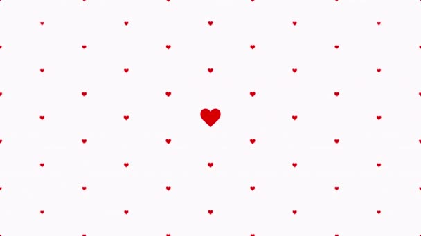 Valentines day shiny background with animation of romantic small red hearts isolated on white background