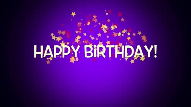 elegáns dinamikus animációs boldog születésnapot szöveg lila háttér