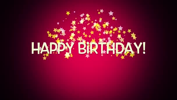 Elegant Dynamic Animated Happy Birthday Text On Red Background Stock Footage