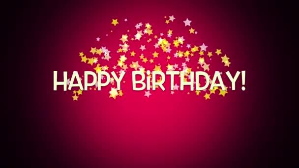 Elegant Dynamic Animated Happy Birthday Text Red Background Stock