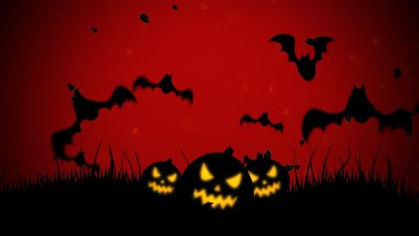 Halloween háttérben animáció, denevérek és a sütőtök