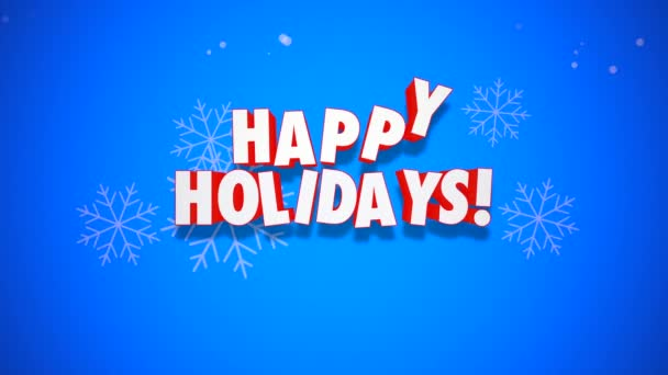 Animated close up Happy Holidays text and Christmas bells on blue background. Luxury and elegant dynamic style template for winter holiday