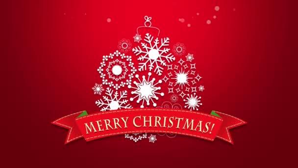 Animovaný zavřít text Veselé Vánoce, bílé sněhové vločky na červeném pozadí. Luxusní a elegantní dynamický styl šablony pro zimní dovolenou