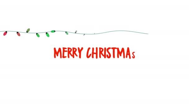 Animovaný blízko Merry Christmas text, barevná girlanda na bílém pozadí. Luxusní a elegantní dynamický styl šablony pro zimní dovolenou