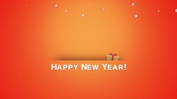 Animovaný blízko šťastný nový rok text, Santa Claus s dárkové krabičky. Luxusní a elegantní dynamický styl šablony pro zimní dovolenou