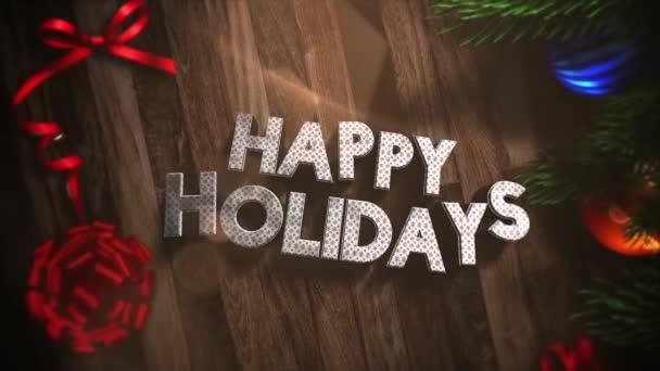 Animovaný blízko Veselé svátky textu, dárkové krabičky a zelené větve stromů s míčky na pozadí. Luxusní a elegantní dynamický styl šablony pro zimní dovolenou