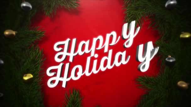 Animated close up Happy Holidays text, colorful garland and green tree branches on wood background. Luxury and elegant dynamic style template for winter holiday