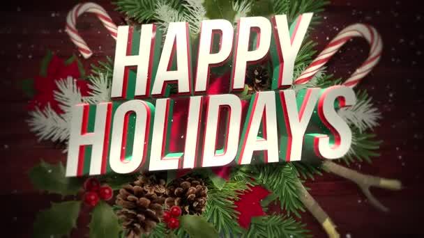 Animovaný blízko se Veselé svátky text, bílé sněhové vločky na cukroví a zelené vánoční větve, dřevo pozadí. Luxusní a elegantní dynamický styl šablony pro zimní dovolenou