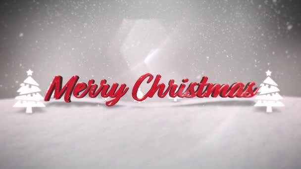 Animovaný closeup Veselé Vánoce text, hory, Les a sněží krajiny. Luxusní a elegantní dynamický styl šablony pro zimní dovolenou
