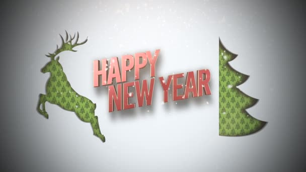 animated closeup happy new year text green christmas tree deer stock video