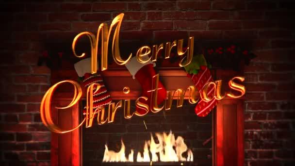 Animovaný closeup krb, dárky vánoční ponožky a Merry Christmas text na pozadí cihly. Luxusní a elegantní dynamický styl šablony pro zimní dovolenou