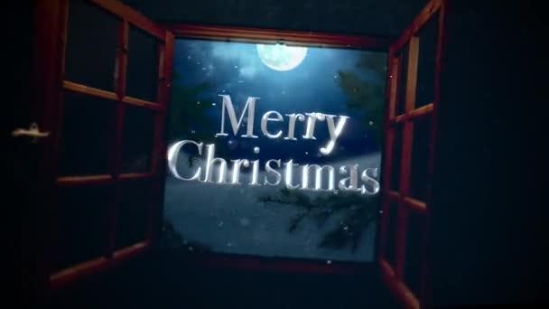Animierte Closeup Frohe Weihnachten Text Mit Offenem Fenster ...