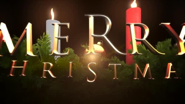 Animovaný text Veselé Vánoce closeup, zelené větve a svíčky. Luxusní a elegantní dynamický styl šablony pro zimní dovolenou