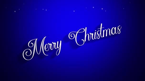Animovaný closeup Merry Christmas text na modrém pozadí. Luxusní a elegantní dynamický styl šablony pro zimní dovolenou