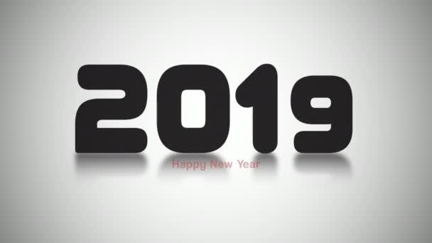 Animovaný closeup 2019 čísla a šťastný nový rok text na bílém pozadí. Luxusní a elegantní dynamický styl šablony pro zimní dovolenou