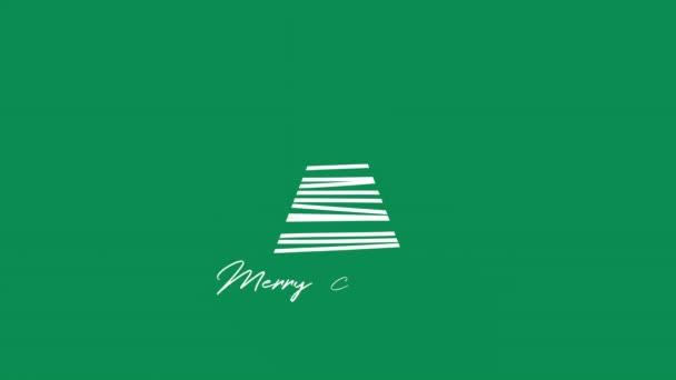 Animovaný closeup veselé vánoční text, bílý vánoční stromeček na zeleném pozadí. Luxusní a elegantní dynamický styl šablony pro zimní dovolenou