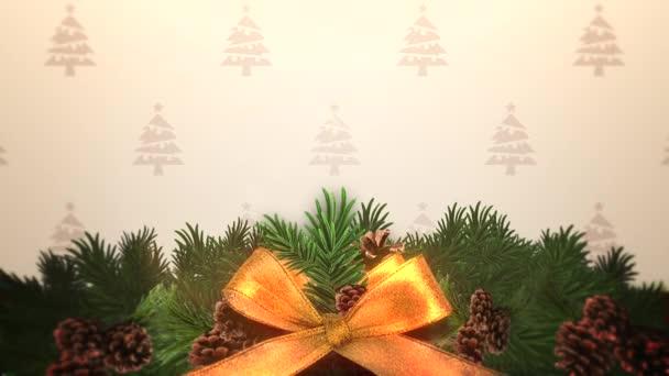 Animovaný closeup vánoční zelené větve stromů v dárkovém balení. Luxusní a elegantní dynamický styl šablony pro zimní dovolenou