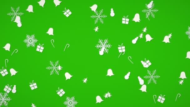 Bílé vločky, zvonky, sněhulák a dar náhodný pohyb. Veselé Vánoce a šťastný nový rok abstraktní pozadí. Luxusní a elegantní dynamický styl šablony pro zimní dovolenou