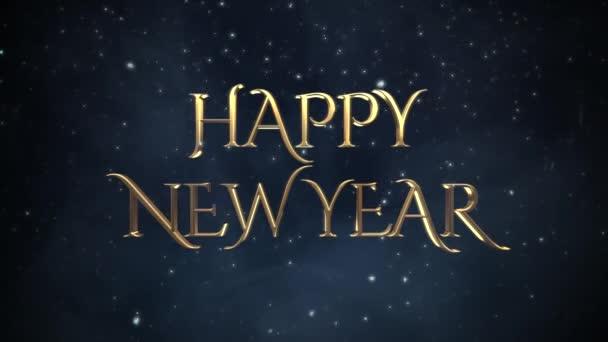 animierte Nahaufnahme frohes neues Jahr Text, weiße Schneeflocken auf blauem Hintergrund. Luxus und eleganter dynamischer Stil für den Winterurlaub