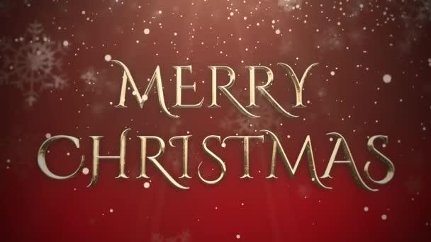 Alá tartozó hópehely fehér és animált Vértes Merry Christmas szöveg-fényes vörös háttérben. Luxus és elegáns dinamikus stílus sablon téli üdülés