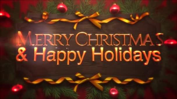 animierte Nahaufnahme frohe Weihnachten und frohe Feiertage Text, rote Kugeln und grüne Zweige auf Holz-Hintergrund. Luxus und eleganter dynamischer Stil für den Winterurlaub
