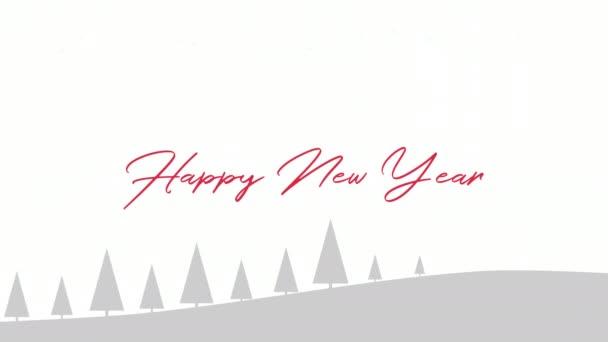 Animovaný zblízka text šťastný nový rok, vánoční stromky a měsíc na bílém pozadí. Luxusní a elegantní dynamický styl šablony pro zimní dovolenou