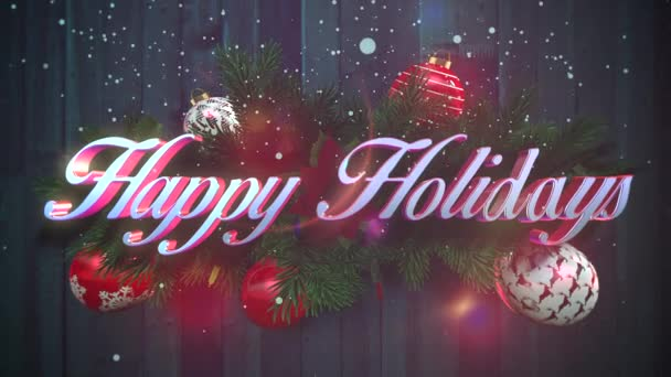 Animated Closeup Happy Holidays Text White Snowflakes Green Christmas  Branches — Stock Video © GoldLeo #226404046