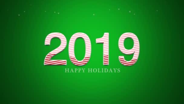 animierte Nahaufnahme 2019 Zahlen und frohe Feiertage Text auf grünem Hintergrund. Luxus und eleganter dynamischer Stil für den Winterurlaub