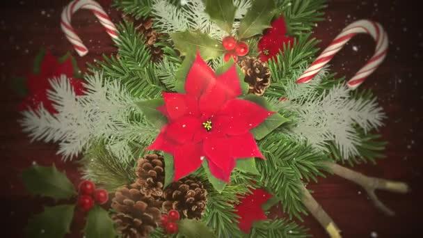 A cukorka és a zöld karácsony-ágak, fa háttér Vértes fehér hópelyhek animált. Luxus és elegáns dinamikus stílus sablon téli üdülés