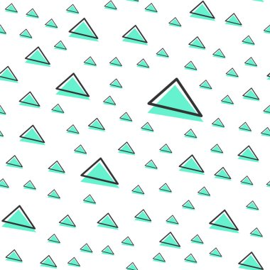 Random triangle pattern, abstract geometric background in 80s, 90s retro style. Colorful geometrical illustration