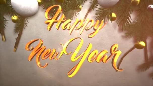 Animovaný closeup šťastný nový rok text, bílá a žlutá koule, zelená vánoční větví na sněhu pozadí. Luxusní a elegantní dynamický styl šablony pro zimní dovolenou