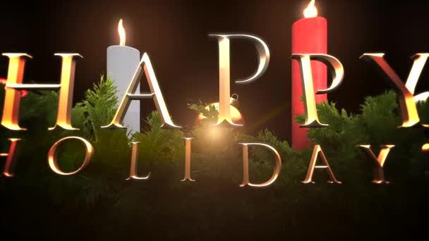 Animovaný text Veselé svátky closeup, zelené větve a svíčky. Luxusní a elegantní dynamický styl šablony pro zimní dovolenou