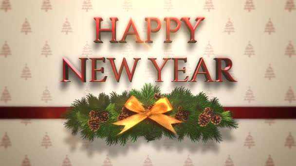 Animált Vértes boldog új évet szöveg, zöld karácsonyi ág a díszdobozban. Luxus és elegáns dinamikus stílus sablon téli üdülés