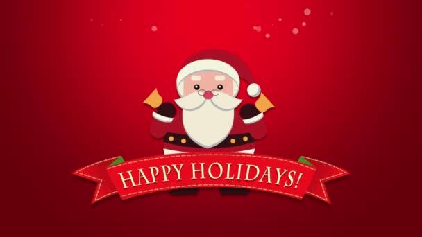 Animovaný closeup Veselé svátky text, Santa Claus s rolničkami. Luxusní a elegantní dynamický styl šablony pro zimní dovolenou
