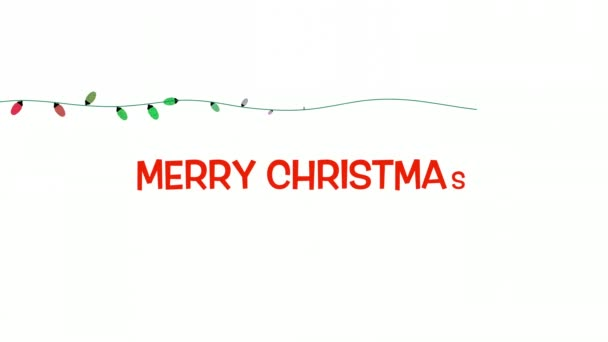 Animated Closeup Merry Christmas Text Colorful Garland White