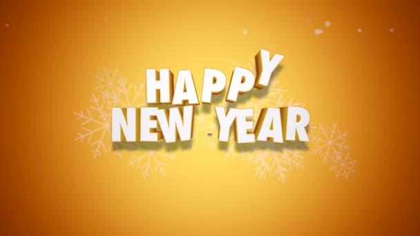 Animovaný text closeup šťastný nový rok a zvony na žlutém podkladu. Luxusní a elegantní dynamický styl šablony pro zimní dovolenou