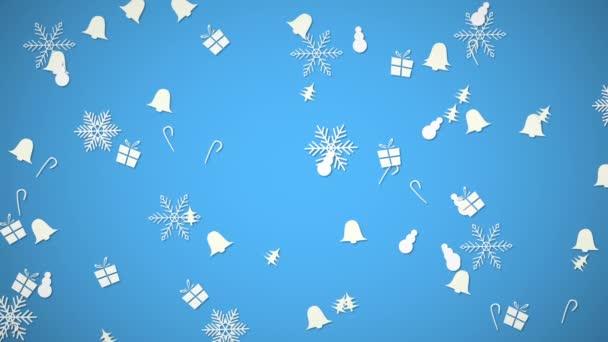 Fehér hópelyhek, a harangok, a hóember és ajándék véletlenszerű mozgást. Boldog új évet, és a Merry Christmas absztrakt háttér. Luxus és elegáns dinamikus stílus sablon téli üdülés