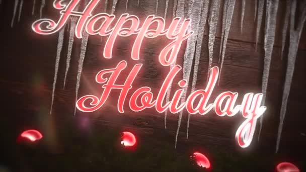 Animovaný text Veselé svátky closeup, červené koule a rampouchy na pozadí. Luxusní a elegantní dynamický styl šablony pro zimní dovolenou