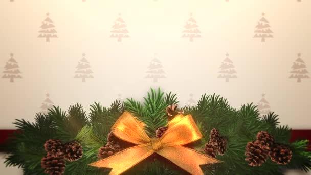 Animovaný closeup vánoční zelené větve stromů v dárkovém balení