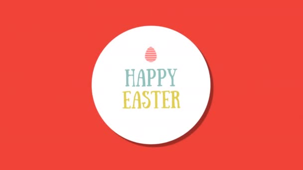 Animated closeup Happy Easter text and egg on red background