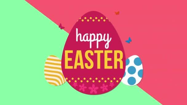 animierte Nahaufnahme fröhlicher Ostertext und Eier auf grünem und rotem Schwindel-Hintergrund. Luxus und eleganter dynamischer Stil für den Urlaub