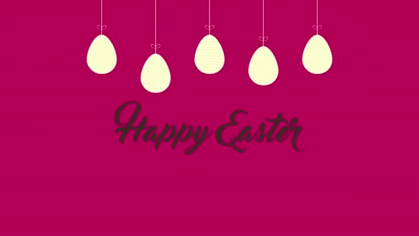 Animated closeup Happy Easter text and eggs on red background