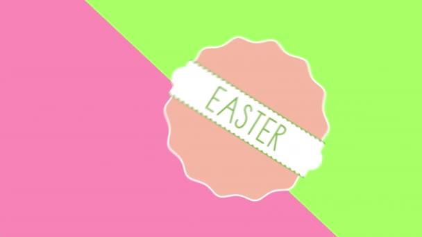 Animált Vértes Boldog húsvéti szöveg és a tojás, a zöld és rózsaszín szédülés háttérben