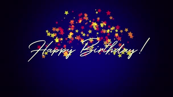 Animated closeup Happy Birthday text on blue background