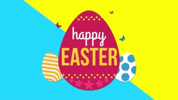 animierte Nahaufnahme fröhlicher Ostertext und Eier auf blauem und gelbem Schwindel-Hintergrund