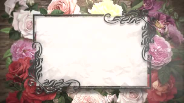 Closeup vintage frame with flowers motion, wedding background