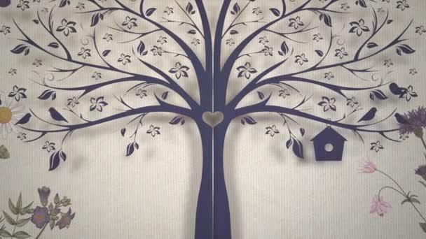 Closeup Vintage virágok és a fa mozgás, esküvői háttér