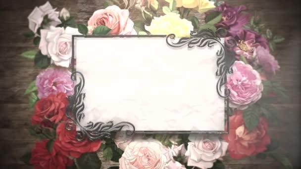 Closeup ročník s květinami pohyb, svatební zázemí