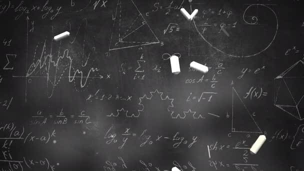 Closeup mathematical formula and elements on blackboard, school background